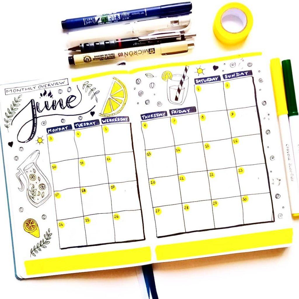 Bullet Journal Spreads for June
