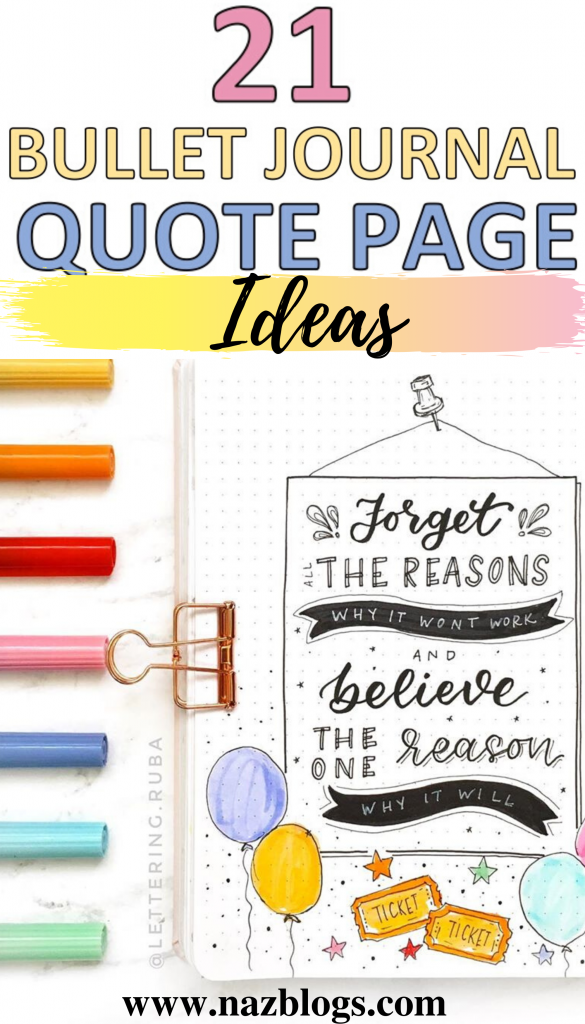 21 bullet journal quote page ideas