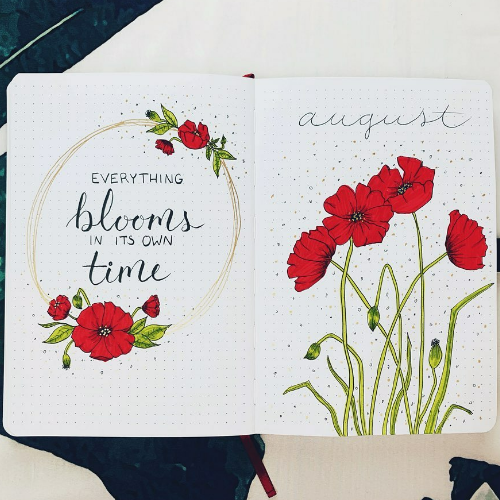 August Bullet Journal Cover