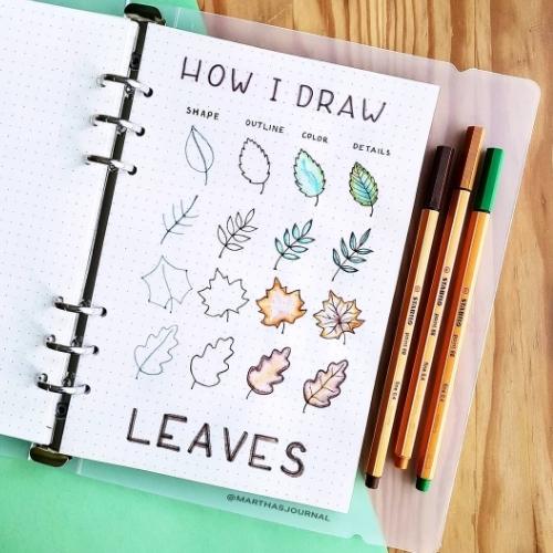draw fall leaves