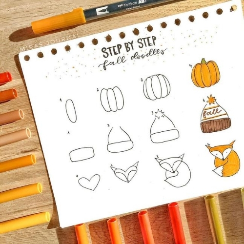 Step by step fall doodles