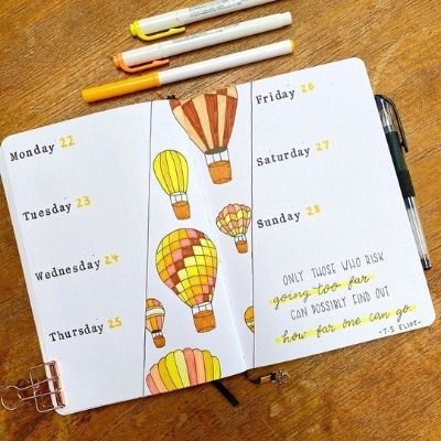 bullet journal weekly spread ideas
