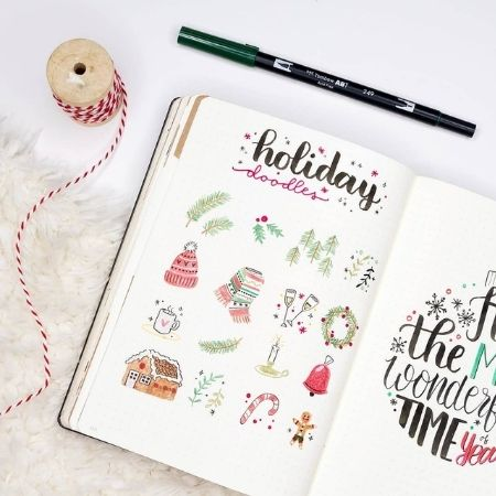 christmas bullet journal doodles